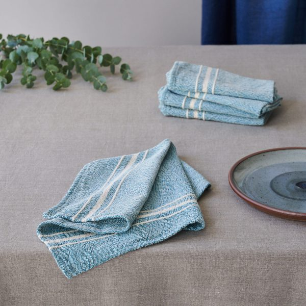 Barrydale Napkin by Craft Editions Teal with Cream Stripes Available at The Decorcafe