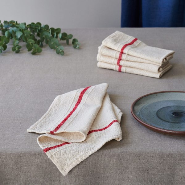 Barrydale Napkin by Craft Editions Cream with Red Stripes Available at The Decorcafe