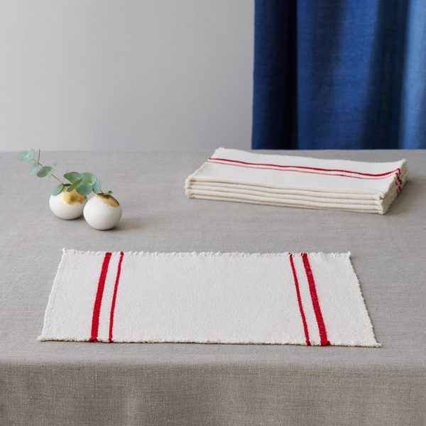 Barrydale Placemat by Craft Editions cream with red stripes available at The Decorcafe
