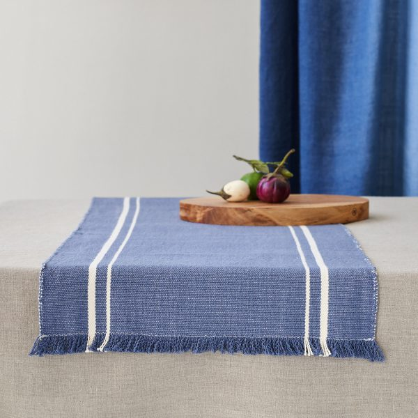 Barrydale Table Runner in Indigo with Cream Stripe Lifestyle Image on Table and available at The Decorcafe
