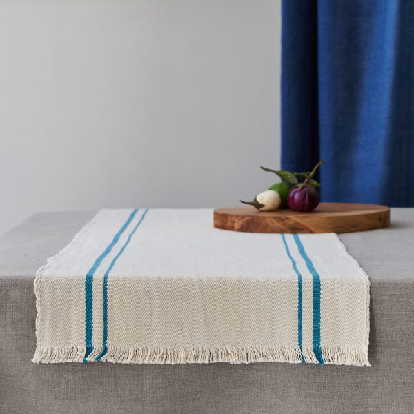 Barrydale Table Runner with Teal Stripe Lifestyle Image on Table and available at The Decorcafe