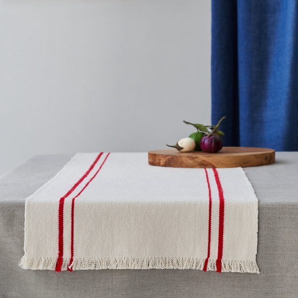 Barrydale Table Runner with Red Stripe Lifestyle Image on Table and available at The Decorcafe