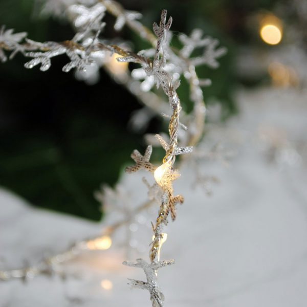 Snowflake Fairy Lights by Melanie Porter available at The Decorcafe Detail of the Silver Colourway