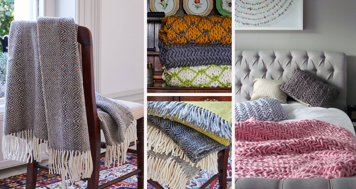 Category image for blankets & throws showing throws from Craft Editions and Melanie Porter at The Decorcafe