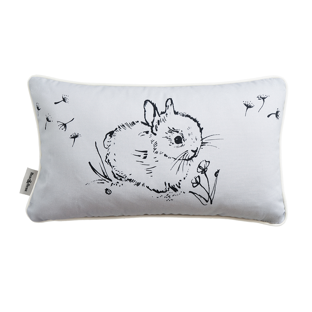 Bear & Beau Little Bunny Grey Cushion 50 x 30 cms Cutout Image at The Decorcafe