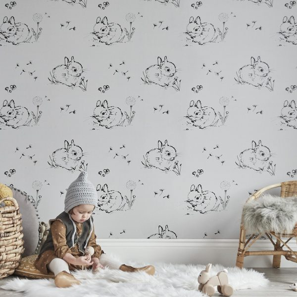 Little Bunny Grey Wallpaper by Bear & Beau at The Decorcafe - Lifestyle Image