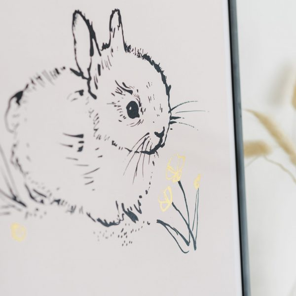 Little bunny Art Print in Pink Lifestyle Image Image by Bear & Beau at The Decorcafe