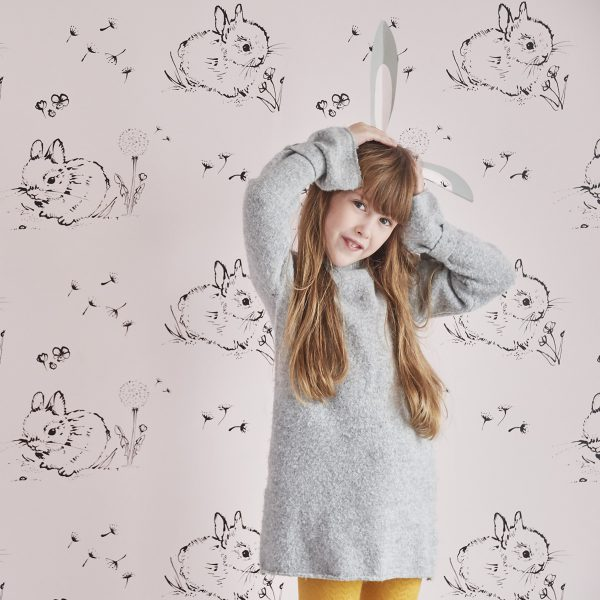 Little Bunny Pink Wallpaper by Bear & Beau at The Decorcafe - Lifestyle Image