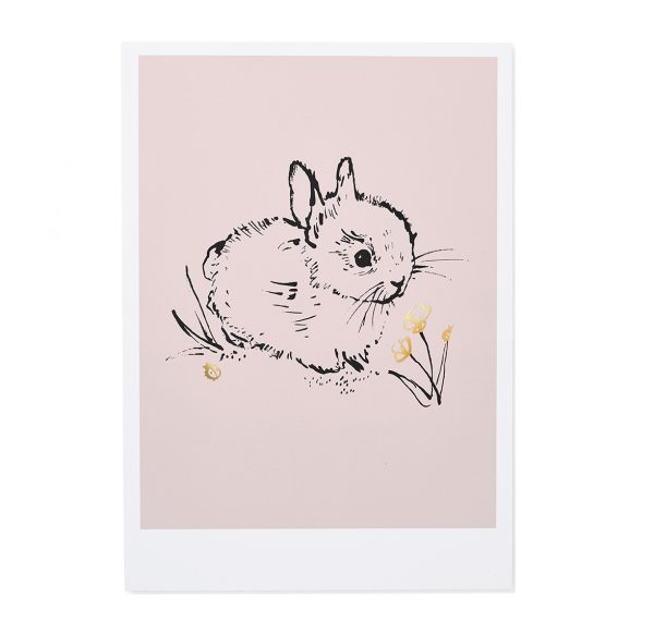 Little bunny Art Print in Pink Cut out Image by Bear & Beau at The Decorcafe