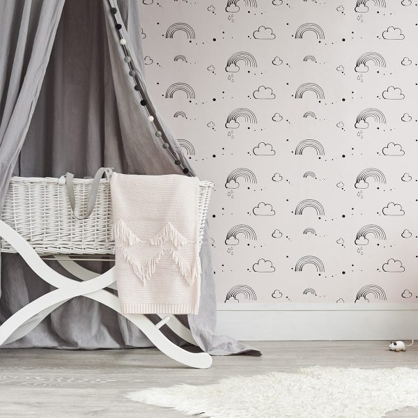 Bear & Beau Rainbow Love Pink Wallpaper at The Decorcafe - Lifestyle Image