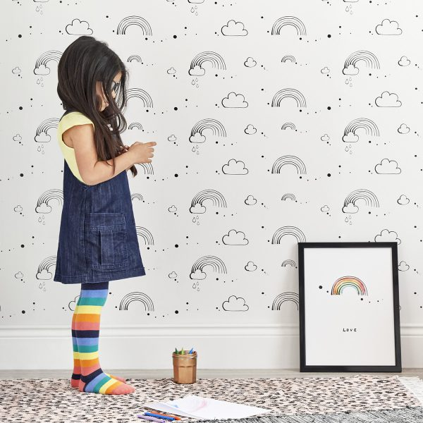 Rainbow Love Monochrome Wallpaper by Bear & Beau at The Decorcafe - Lifestyle Image