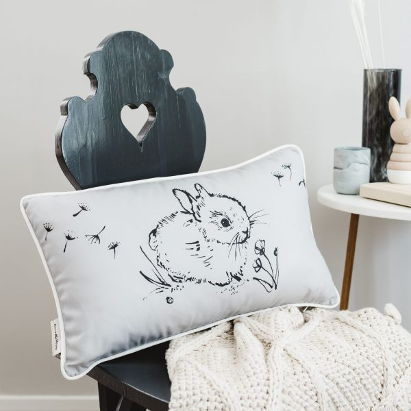 Bear & Beau Little Bunny Grey Cushion 50 x 30 cms Lifestyle Image at The Decorcafe