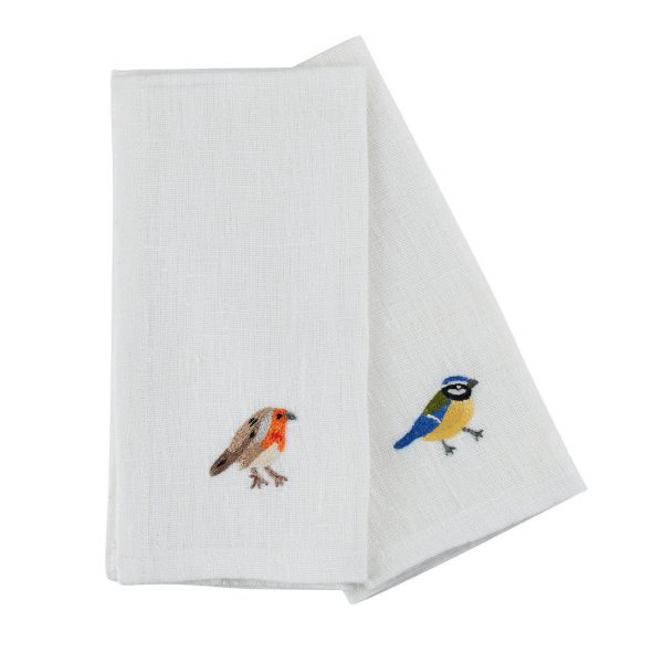 Garden Birds Set of 6 Napkins in White Linen by Craft Editions at The Decorcafe - Detail of 2 Cutout Image