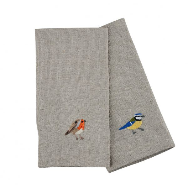 Garden Birds Set of 6 Napkins in Natural Linen by Craft Editions at The Decorcafe - Detail of 2 Cutout Image