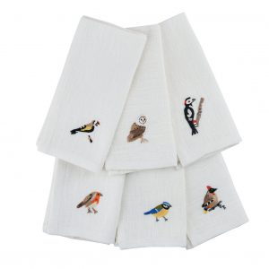 Garden Birds Set of 6 Napkins in White Linen by Craft Editions at The Decorcafe - Cutout Image