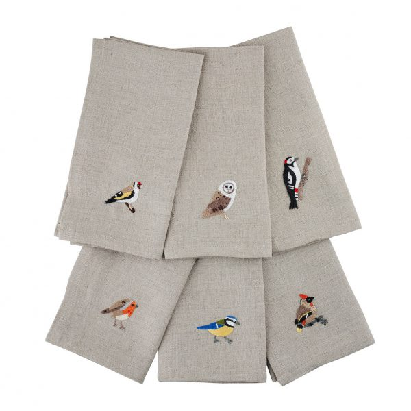 Garden Birds Set of 6 Napkins in Natural Linen by Craft Editions at The Decorcafe - Cutout Image