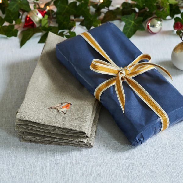 Garden Birds Set of 6 Napkins in Natural Linen by Craft Editions at The Decorcafe - Detail of 2 with Gift Box Image