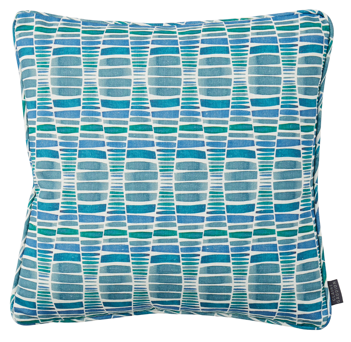 Cotton Linen Printed Sea Blue Cushion