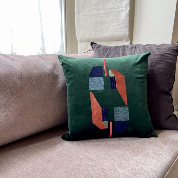 Embroidered Green Velvet Cushion by Marie Murphy Studio at The Decorcafe - lifestyle Image