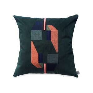 Embroidered Green Velvet Cushion by Marie Murphy Studio at The Decorcafe - Cut out Image