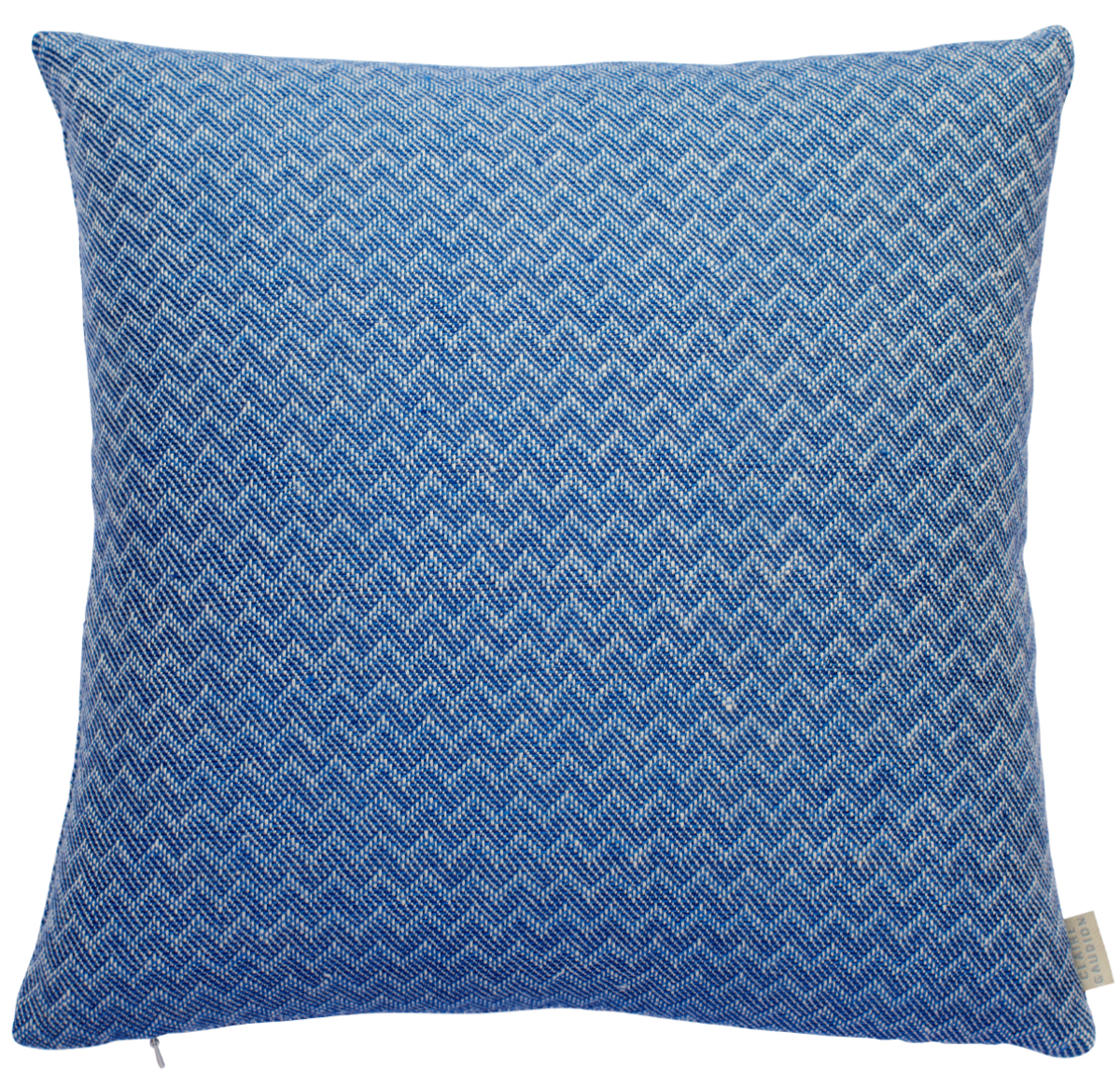 Blue Linen Cushion with chevron pattern by Clairer Gaudion at The Decorcafe