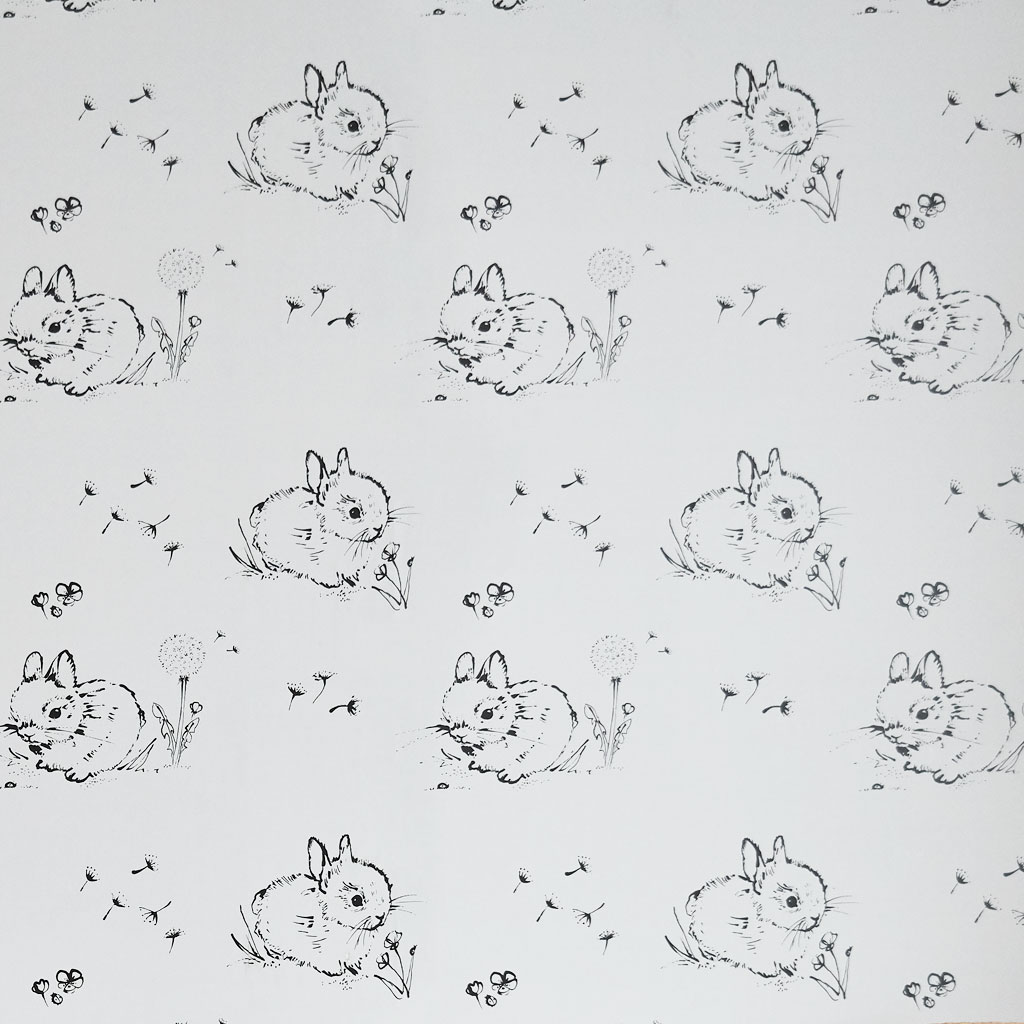 Little Bunny Grey Wallpaper by Bear & Beau at The Decorcafe - Detail Image