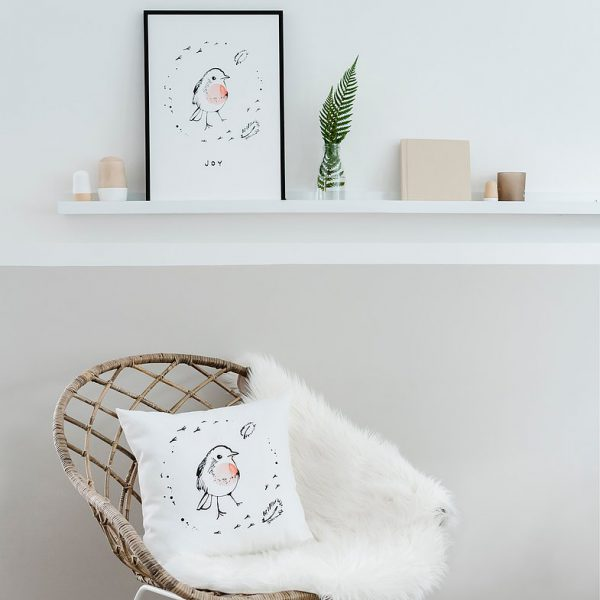 Little Robin Cushion Lifestyle Image Design by Bear & Beau at The Decorcafe