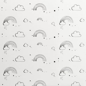 Rainbow Love Monochrome Wallpaper by Bear & Beau at The Decorcafe - Detail Image