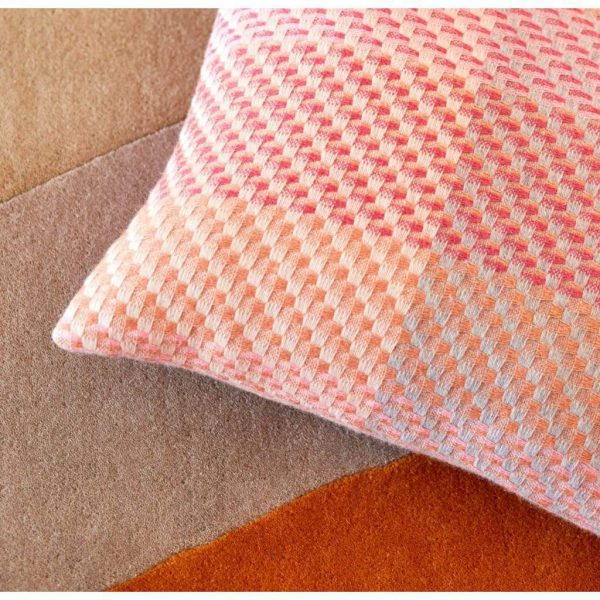 Woven Coral Cushion by Claire Gaudion