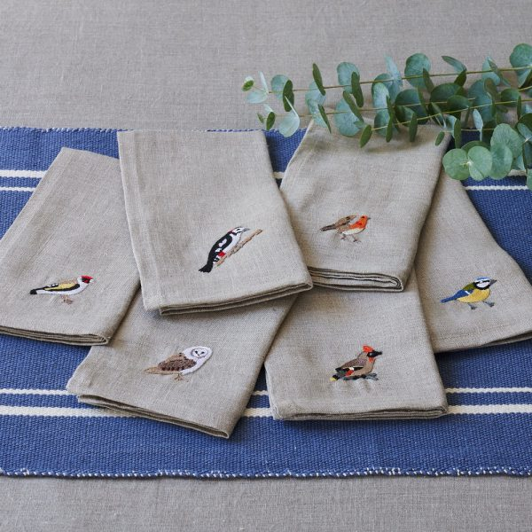 Garden Birds Set of 6 Napkins in Natural Linen by Craft Editions at The Decorcafe - Lifestyle Image