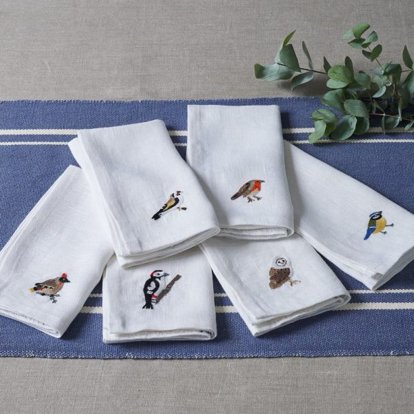 Garden Birds Set of 6 Napkins in White Linen by Craft Editions at The Decorcafe - Lifestyle Image