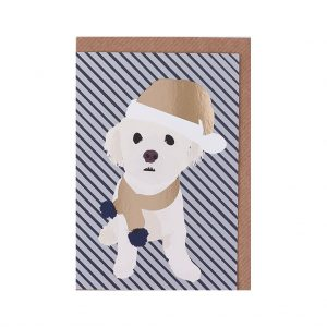 Alfie the Bichon Frise Christmas Card by Lorna Syson at The Decorcafe - Cutout Image