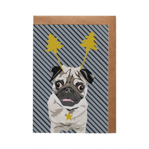 Arnie the Pug Christmas Card by Lorna Syson at The Decorcafe - Cutout Image