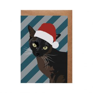 Betty the Siamese Cat Christmas Card by Lorna Syson at The Decorcafe - Cutout Image