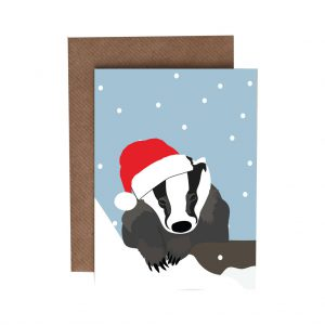Boris the Badger Christmas Card by Lorna Syson at The Decorcafe - Cutout Image
