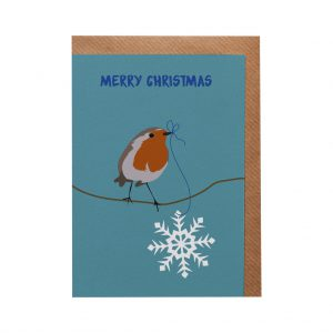 Robin Snowflake Christmas Card by Lorna Syson at The Decorcafe - Cutout Image