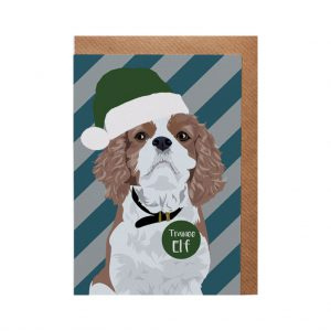 Darcey the King Charles Spaniel Christmas Card by Lorna Syson at The Decorcafe - Cutout Image