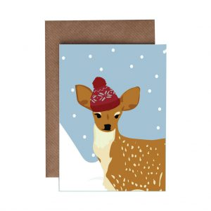 Delia the Deer Christmas Card by Lorna Syson at The Decorcafe - Cutout Image