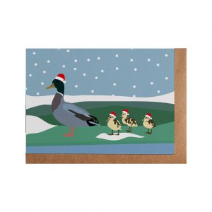 Duck Family Christmas Card by Lorna Syson at The Decorcafe - Cutout Image