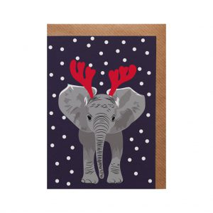 Elsa the Elephant Christmas Card by Lorna Syson at The Decorcafe - Cutout Image