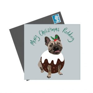 Flo the French Bulldog Christmas Card by Lorna Syson at The Decorcafe