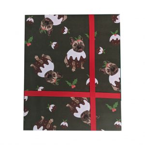 Frenchie the Christmas Pudding Wrapping Paper by Lorna Syson at The Decorcafe