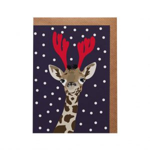 Lizzie the Giraffe Christmas Card by Lorna Syson at The Decorcafe - Cutout Image