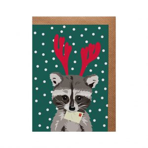 Rebecca the Raccoon Christmas Card by Lorna Syson at The Decorcafe - Cutout Image