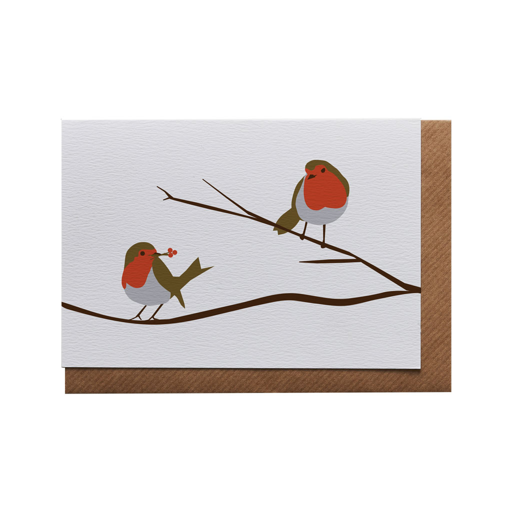 Robins on a Branch Greeting Card by Lorna Syson at The Decorcafe - Cutout Image
