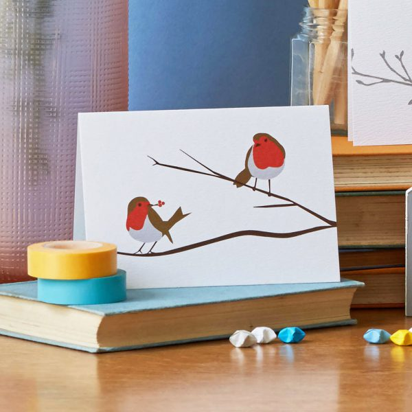 Robins on a Branch Greeting Card by Lorna Syson at The Decorcafe - Lifestyle Image