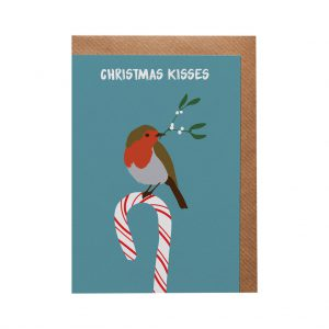 Robin Candy Cane Christmas Card by Lorna Syson at The Decorcafe - Cutout Image