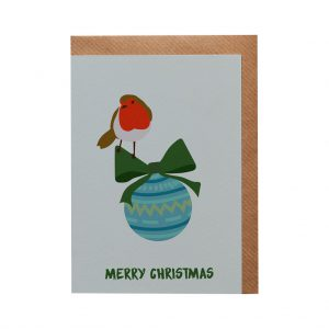 Robin Bauble Christmas Card by Lorna Syson at The Decorcafe - Cutout Image