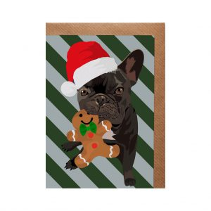 Ronnie the French Bulldog Christmas Card by Lorna Syson at The Decorcafe - Cutout Image