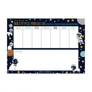 Space Dog Weekly Planner by Lorna Syson at The Decorcafe - Cutout Image